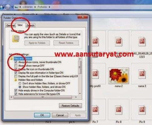 Cara Jitu Mengembalikan Icons Photo ke Thumbnails Pada Windows 7