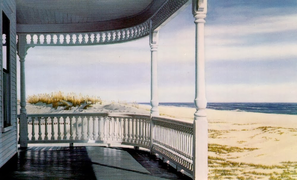 realistic white porch with spindled railings overlooking the ocean shore, original oil