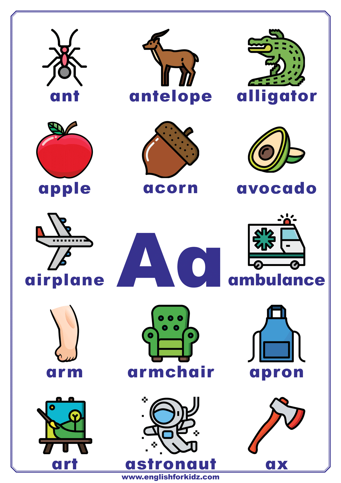 Letter A Worksheets Flash Cards Coloring Pages