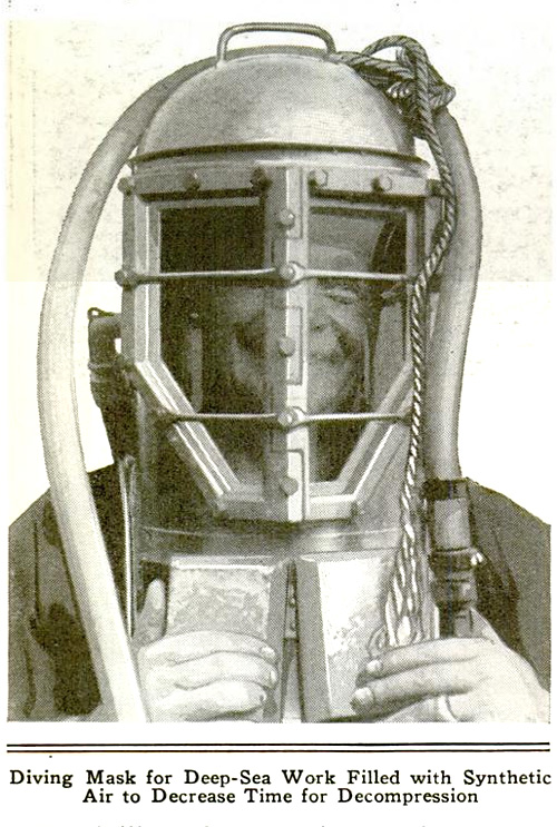 Diving Mask for Deep-Sea Work Filled with Synthetic Air to Decrease Time for Decompression