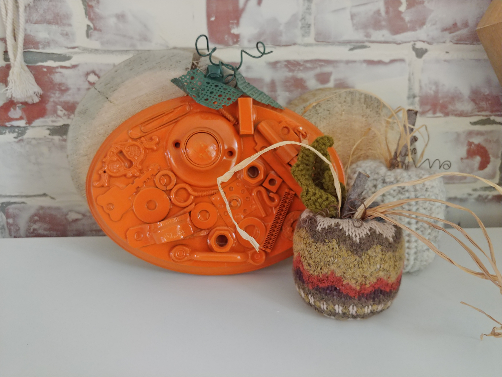 pumpkin made from old hardware
