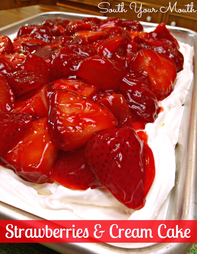 White Cake With Strawberry Glaze Topping