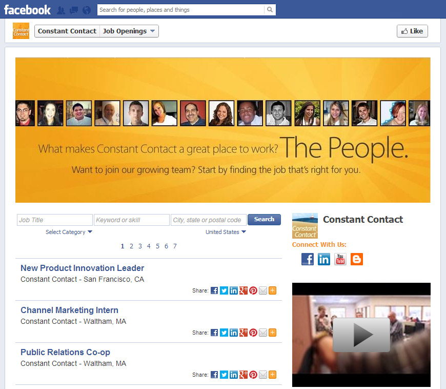 Facebook Tabs Example 2 Employment Opportunities Indianapolis Web