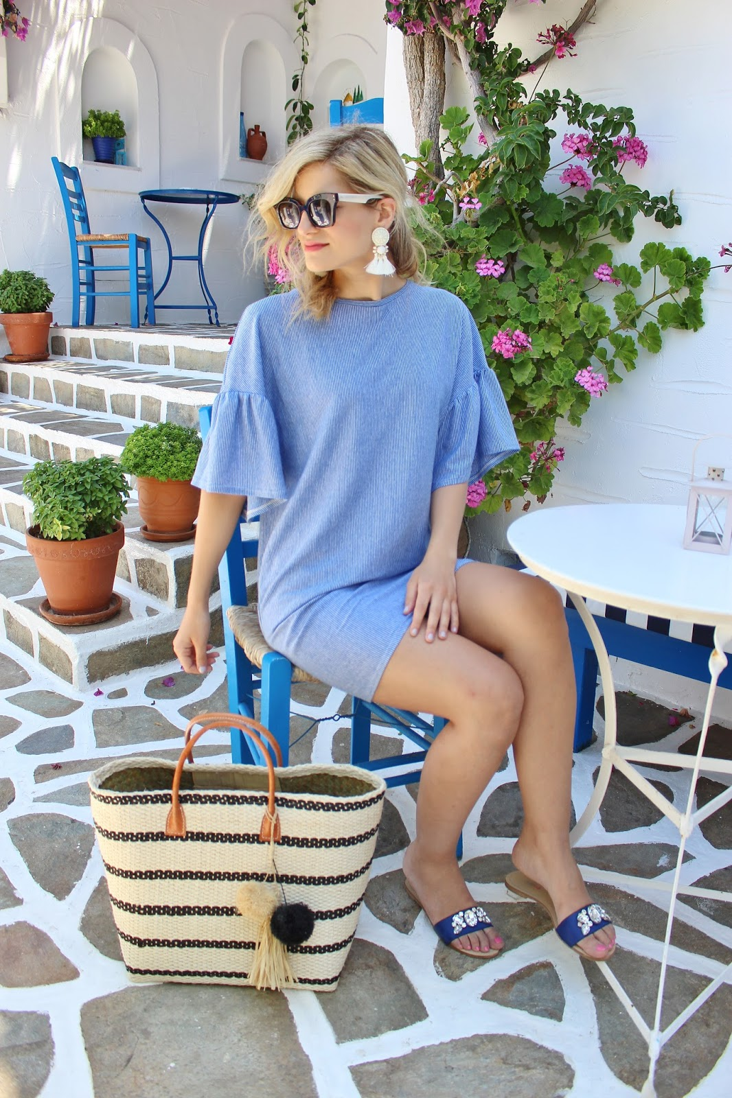 bijuleni, Zara summer dress and hat attack straw beach bag