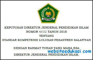 Keputusan Dirjen Pendis Nomor 4832 Tahun 2018 Tentang SKL Pesantren Salafiyah