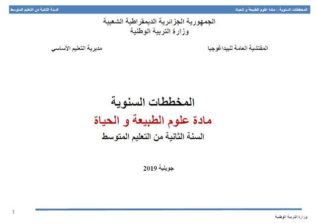 المخططات السنویة مادة علوم الطبیعة و الحیاة السنة الثانیة من التعلیم المتوسط جويلية 2019