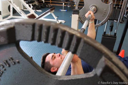 Trent Hape, first XV, Hastings Boys' High School, Hastings, working out in the school gym. photograph