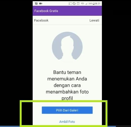 Upload foto profil untuk bikin akun facebook