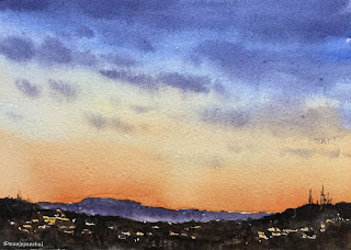 A watercolor painting of an evening sky on Chitrapat handmade paper
