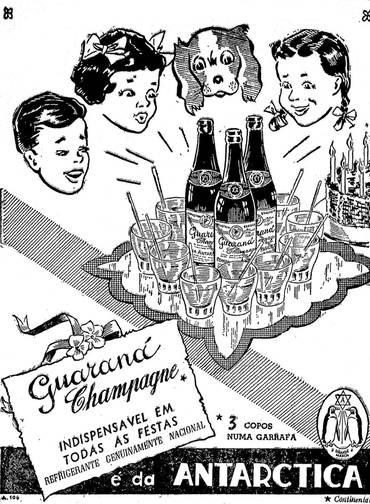 Propaganda do Guaraná Antárctica nos anos 40 reforçando sua genuinidade brasileira