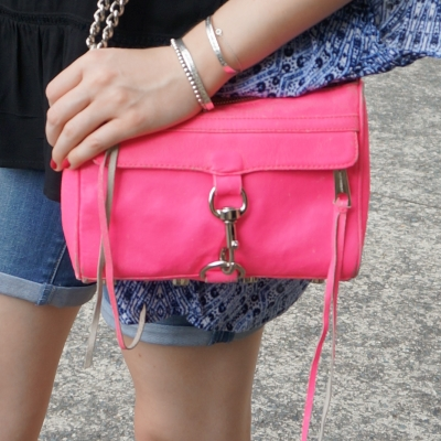 Rebecca Minkoff neon pink mini MAC bag with printed kimono and denim shorts | away from the blue