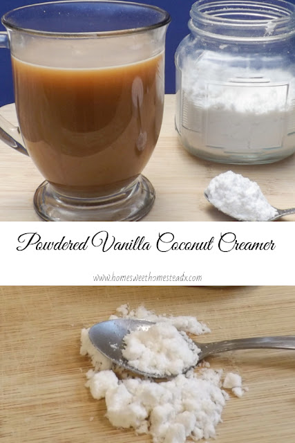 Powdered Vanilla Coconut Creamer - Home Sweet Homestead - Creamy rich, dairy free Powdered Vanilla Coffee Creamer is possible, and it couldn't be easier to make! #coffeecreamer #homemadecoffeecreamer #dairyfree