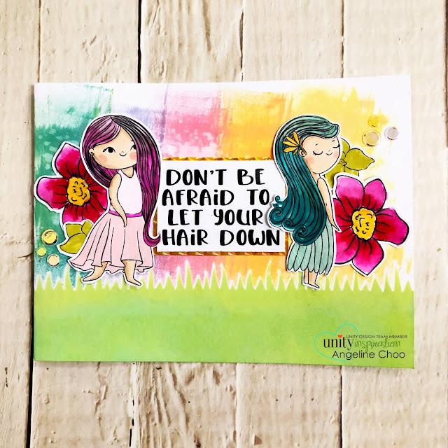 ScrappyScrappy: Beth Duff Designs - Unity Stamp Blog Hop - Let your hair down #scrappyscrappy #bethduffdesigns #unitystampco #card #cardmaking #stamp #stamping #quicktipvideo #youtube #timholtz #distressoxide #rainbowsky #spectrumnoir #simonsaysstamp #grassyedges #moana #letyourhairdown #copicmarkers #auroraborealis