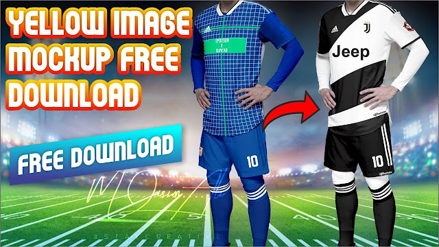 Juventus Kit Design Tutorial Download + Yellow Image Mockup PSD for free by M Qasim Ali