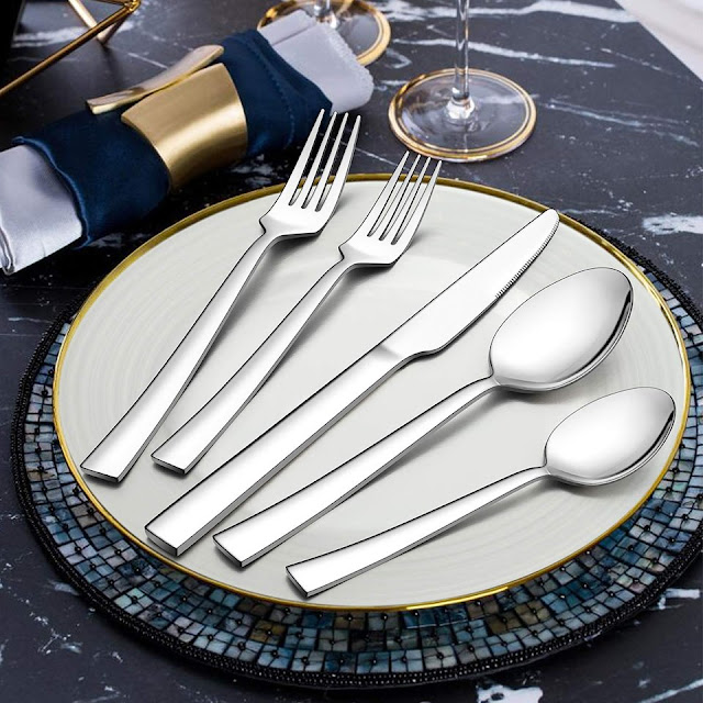 LIANYU 45-Piece Silverware Set with Serving Utensils
