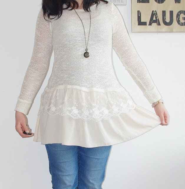 [Fashion] Romantic Crochet &  Lace Sweater Dress