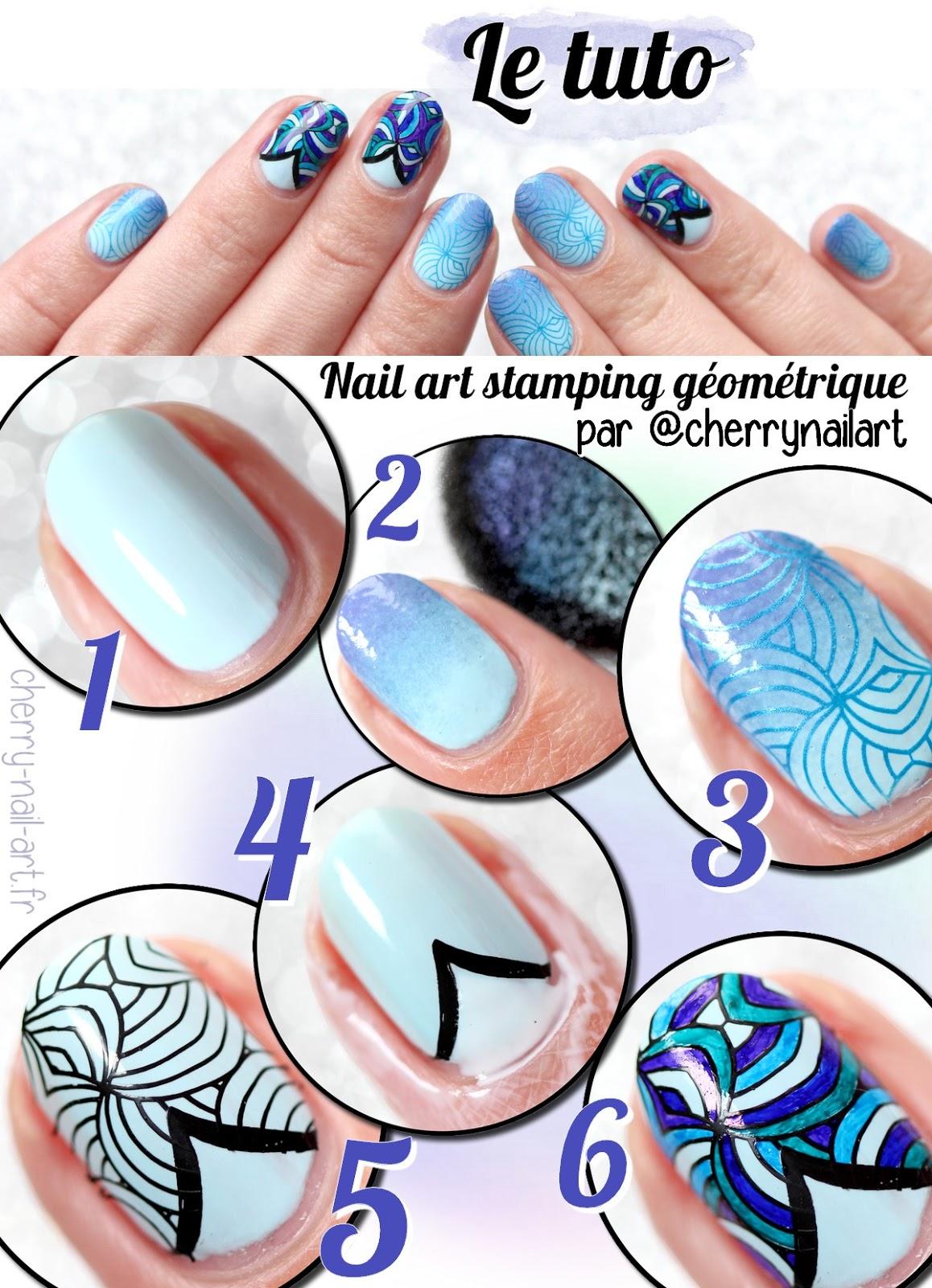 tuto-photo-nail-art-stamping-géométrique-marqueur-dégradé