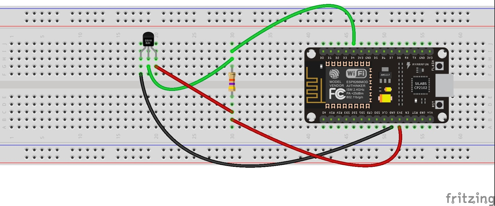 Quick Start To Nodemcu Esp8266 On Arduino Ide 3 Steps With Pictures Wiring Diagrams For Dummies Step Upload Ds18b20 Temperature Sensor Data Thingspeak From