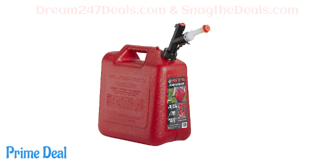 GARAGE BOSS GB351 Briggs and Stratton Press 'N Pour Gas Can, 5 Gallon, Red