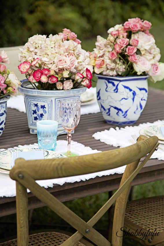 blue and white cache pots