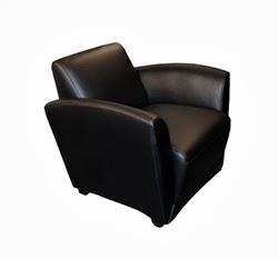 Santa Cruz Black Leather Lounge Chair by Mayline