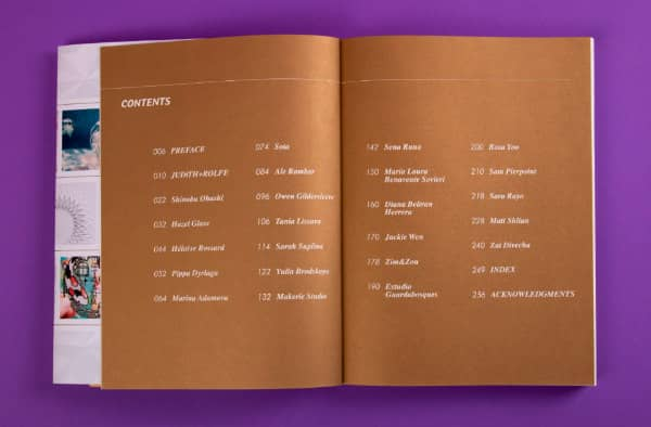 table of contents in paper art book