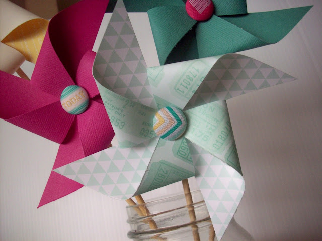 Pinwheels using Dear Lizzie Fifth and Frolic paper and brads