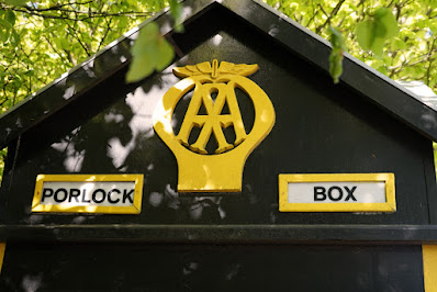 Photograph showing the top of the AA box in detail: 'PORLOCK BOX' is clearly legible.