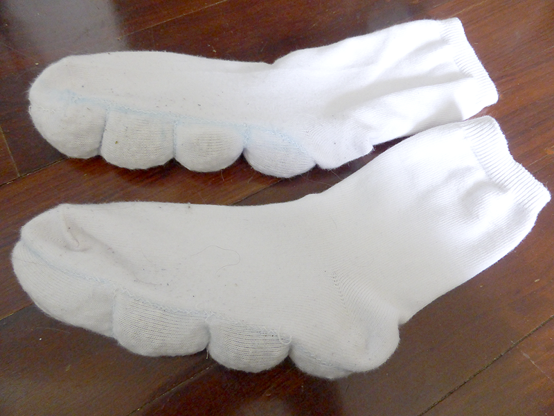Socks with pellets in the soles