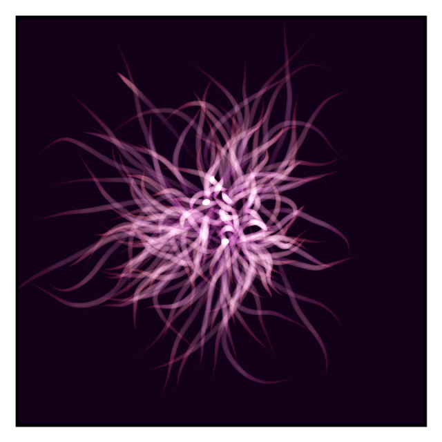 Some creative coding works that looks like a sea anemone.