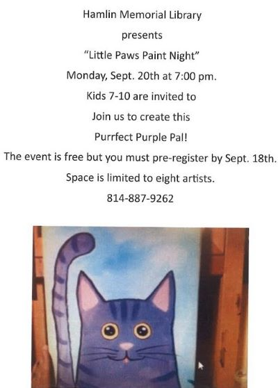 9-18  Register for Little Paws Paint Night at Hamlin Library