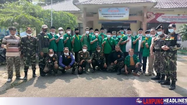 PC GP ANSOR Tanggamus meninjau serta menyerahkan Bantuan sandang pangan Bagi korban banjir