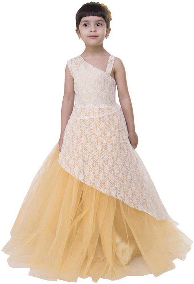 Samsara Couture Girl's Satin Lace Ball Gown Dress Golden Color 4-5 Years