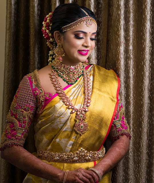 Bride in Mango Mala Heavy Choker
