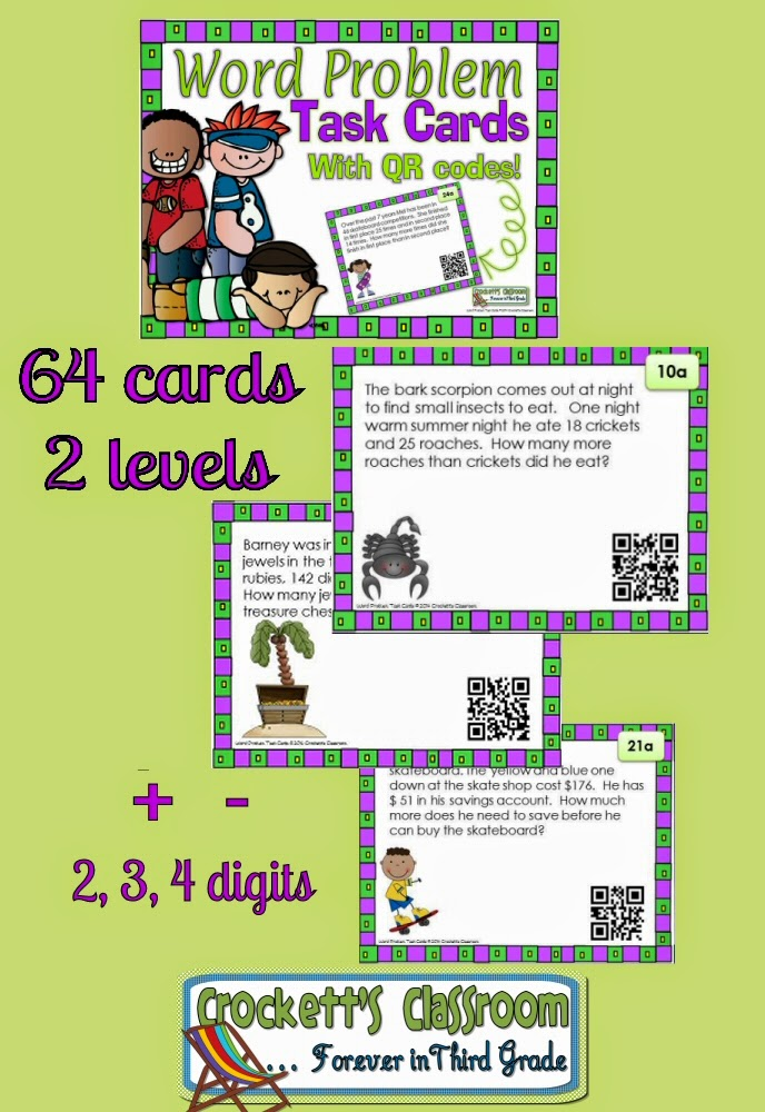 Word Problem Task Cards, with QR codes