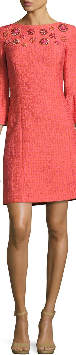Michael Kors Jeweled Bell-Sleeve Tweed Dress, Pink/Multi