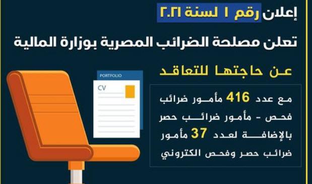 اعلان وظائف مصلحة الضرائب المصرية تطلب 453 مأمور ضرائيب والتقديم الكتروني 2021