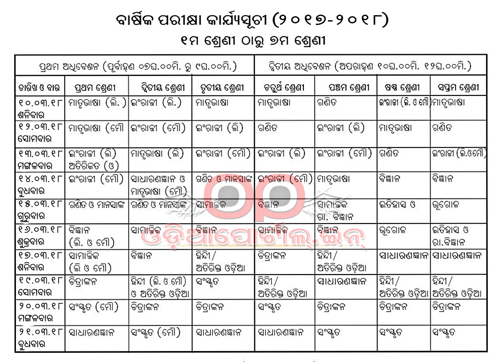 Time table Of 7th class up board 2019 Pdf download Sarkari