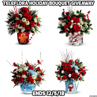 Enter the Teleflora Holiday Bouquet Giveaway. Ends 12/5/18.