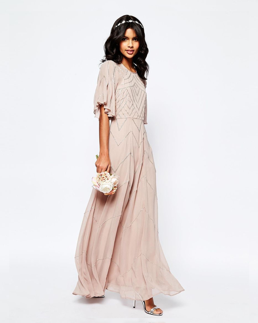 Pleated Bodice Maxi bridesmaidDress with Flutter Sleeve