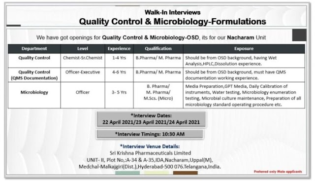Sri Krishna Pharma | Walk-in interview for QC/Microbiology on 22nd, 23rd & 24th Apr 2021