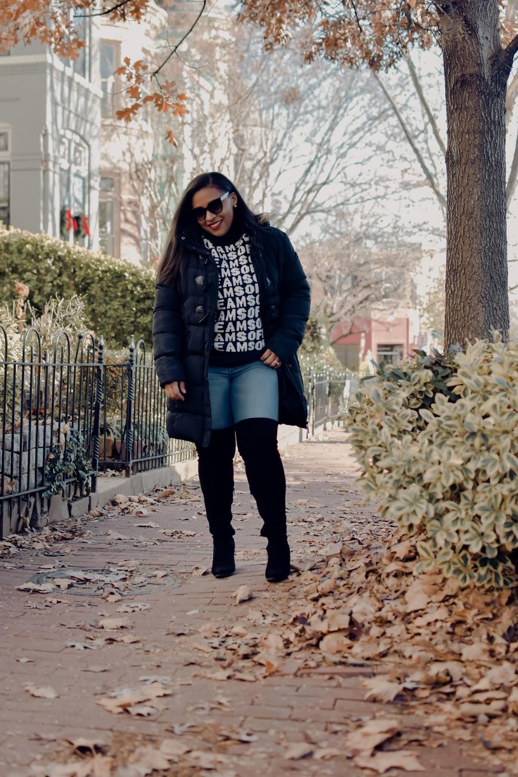 pattys kloset, winter coat, winter accessories, over the knee boots, otk boots