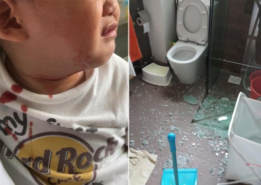 When a Singapore toddler's forceful action caused a glass door in a bathroom to shatter all around him, a domestic helper bravely walked over the glass shards without thinking twice, to save him.