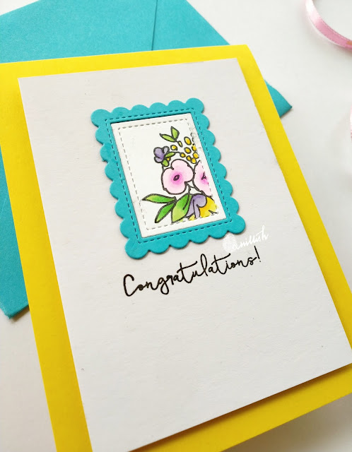 TO, Lawn Fawn, Altenew, CAS card, Copic markers, Anniversary card, Congratulations, Quillish, Altenew congratulations stamp, Lawn fawn mini frames, clean and simple card, floral card, Time out challenges