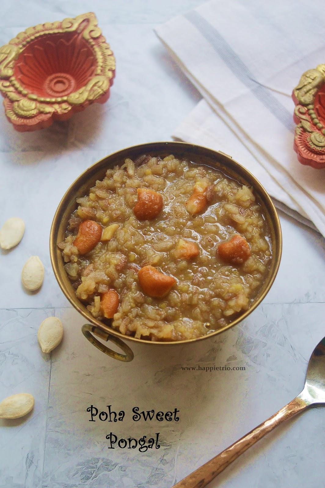 Aval Sakkarai Pongal | Poha Sweet Pongal