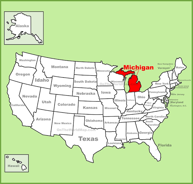United States Map Map Of USA - Michigan on a us map