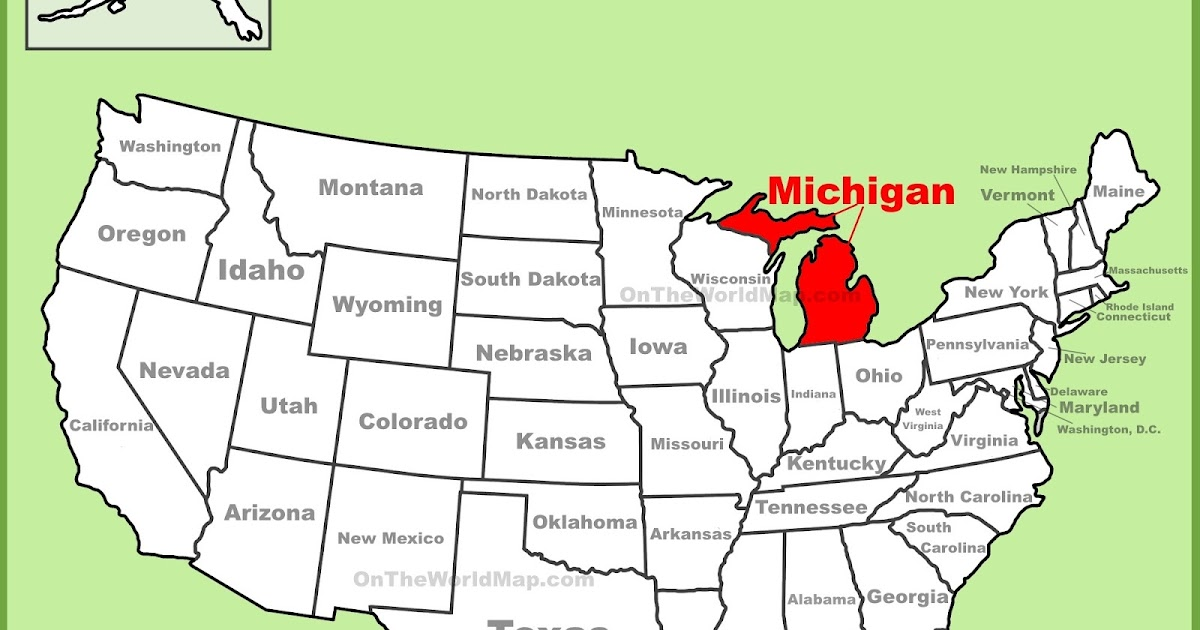 Map of Michigan State Map of USA