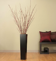Rectangle simple Tall Black Floor Vase for home interior