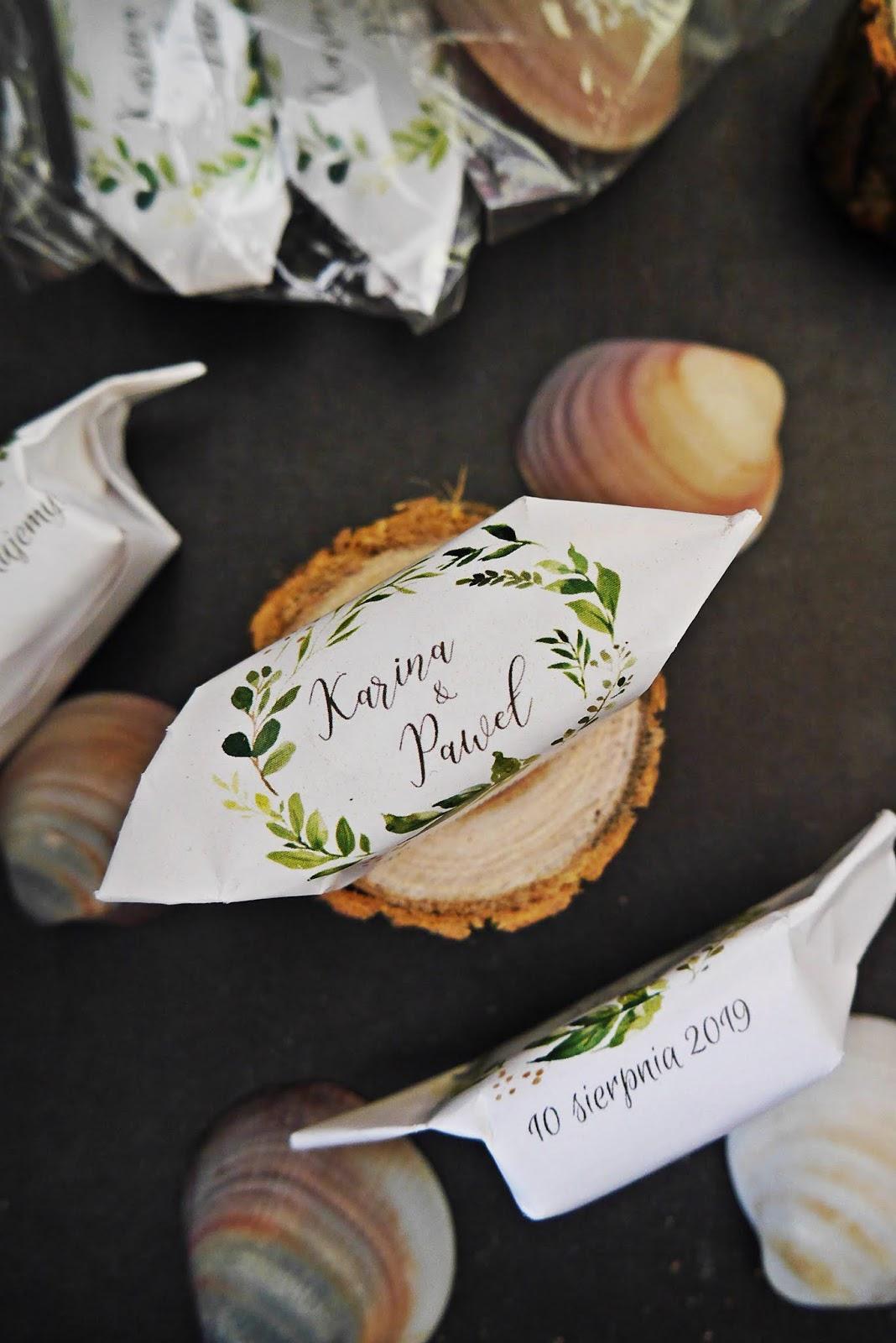 krówki z nadrukiem podziękowania dla gości Ślub karyn blog modowy blogerka modowa blog ślubny DIY