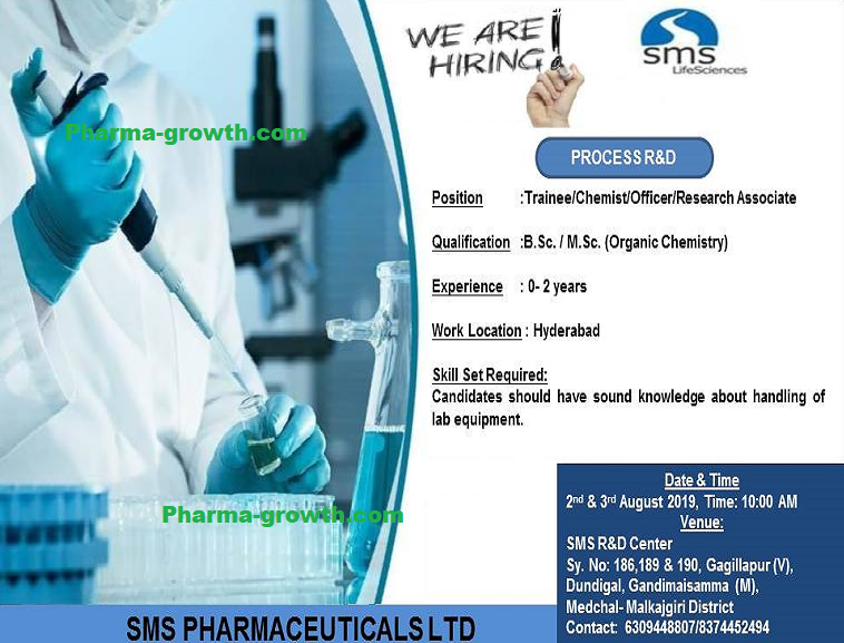 SMS Pharmaceuticals Ltd - Walk in Interview for Freshers & Experienced Candidates on 2nd & 3rd August, 2019